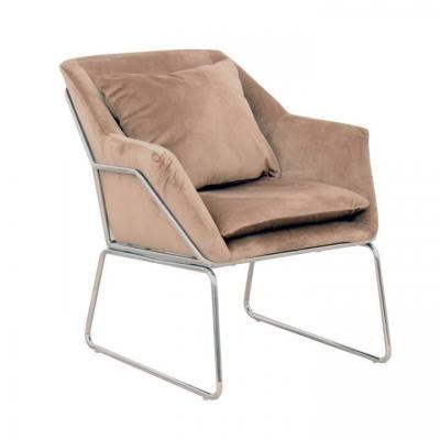 Csővázas fotel párnával és króm vázzal, barna - RELAX